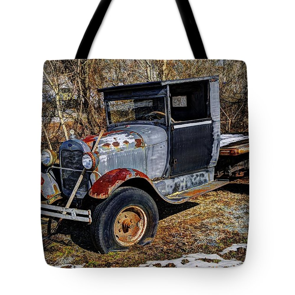Hdr Tote Bag featuring the photograph Rusty Model Aa Ford by Paul Mashburn