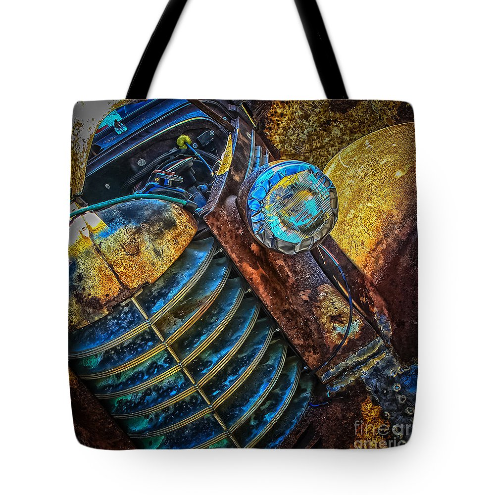 1937 Oldsmobile Coupe Tote Bag featuring the photograph Rusty Old Thing by Warrena J Barnerd