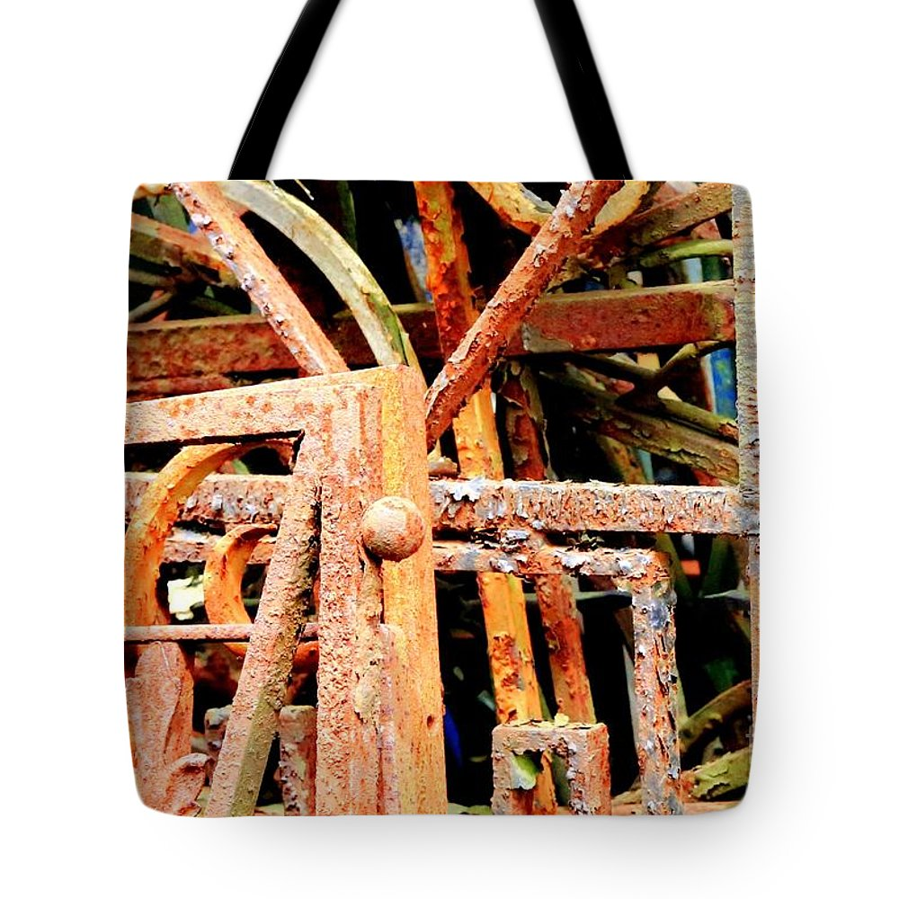 Rust Tote Bag featuring the photograph Rusty Railings by Carol Groenen