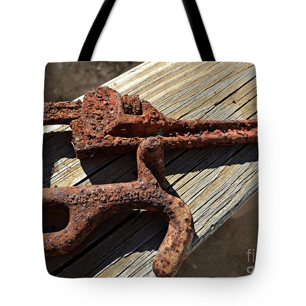 Rusty Tote Bag featuring the photograph Rusty Tools II by Debbie Portwood