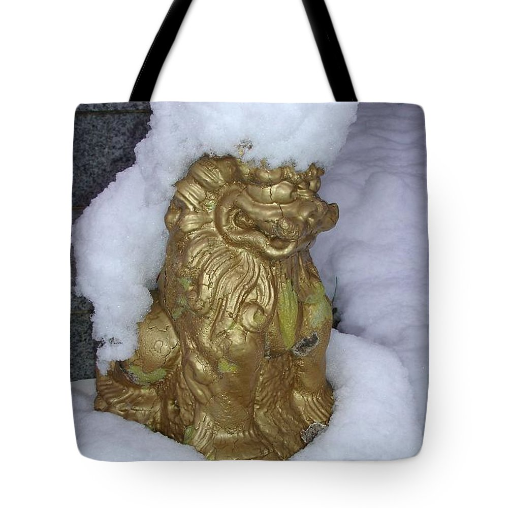 Traditional Tote Bag featuring the photograph Ryukyuan Shisa Dog With Snow-hawk by Jeff at JSJ Photography