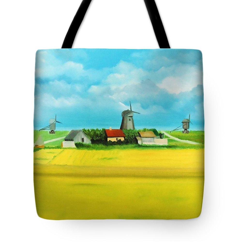 Landscape Tote Bag featuring the painting Saaremaa Island Estonia by Misuk Jenkins