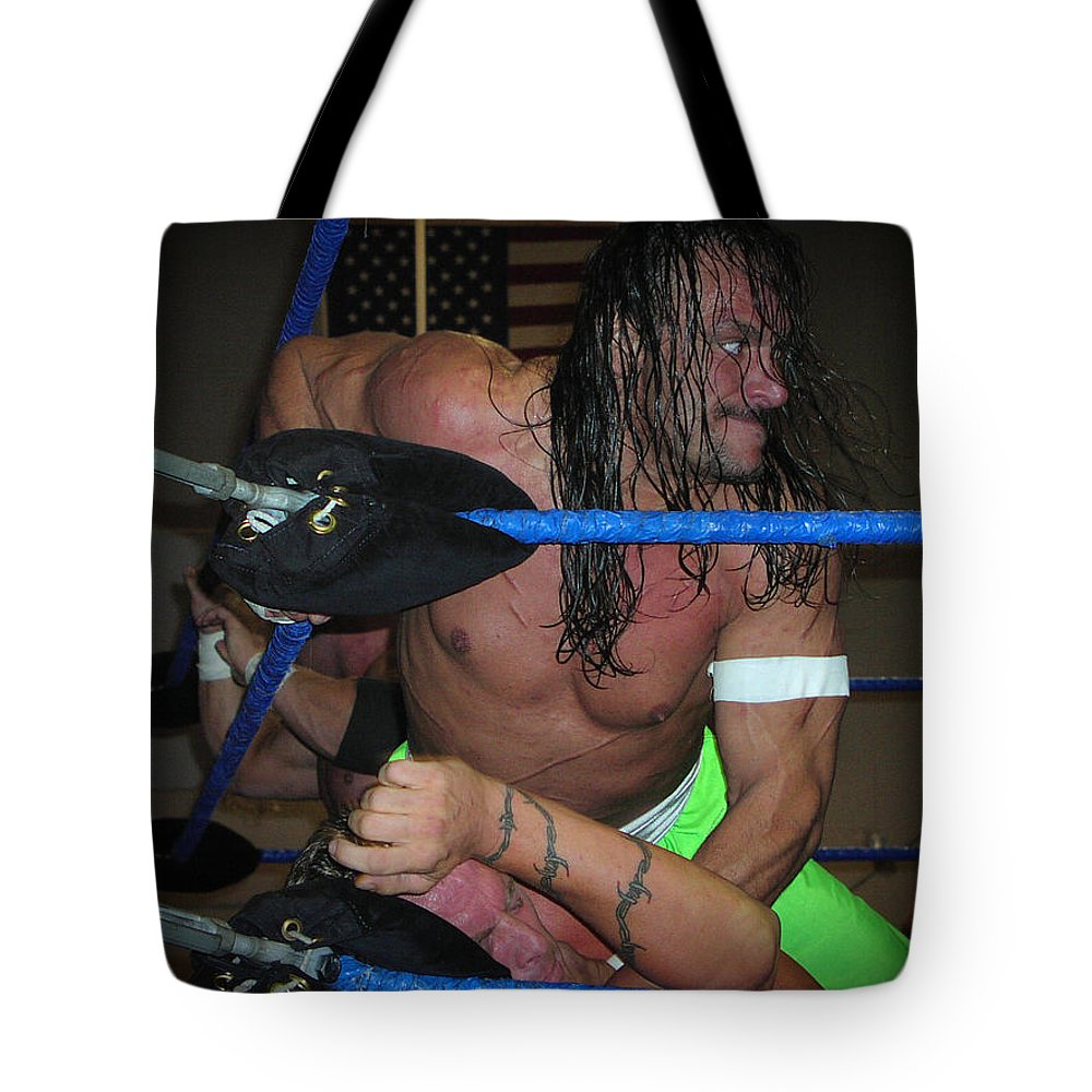 Wrestling Tote Bag featuring the photograph Sabu Beating Sandman by Mike Martin