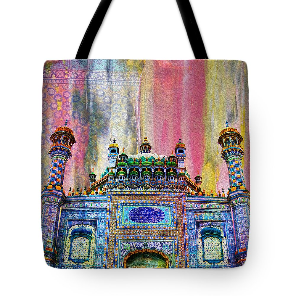 Pakistan Tote Bag featuring the painting Sachal Sarmast Tomb by Catf