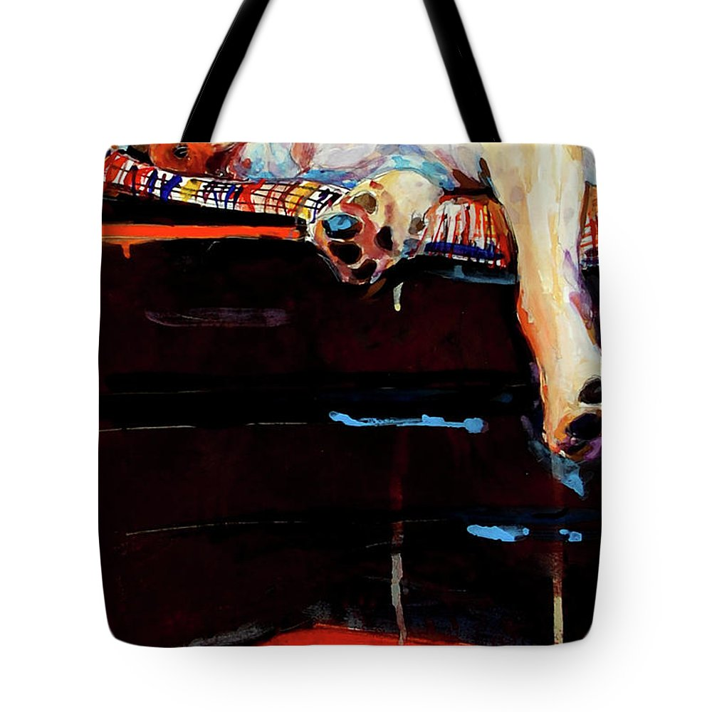 Dog Sleeping Tote Bag featuring the painting Sacked by Molly Poole