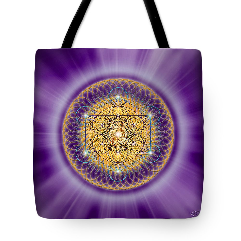 Endre Tote Bag featuring the digital art Sacred Geometry 139 by Endre Balogh