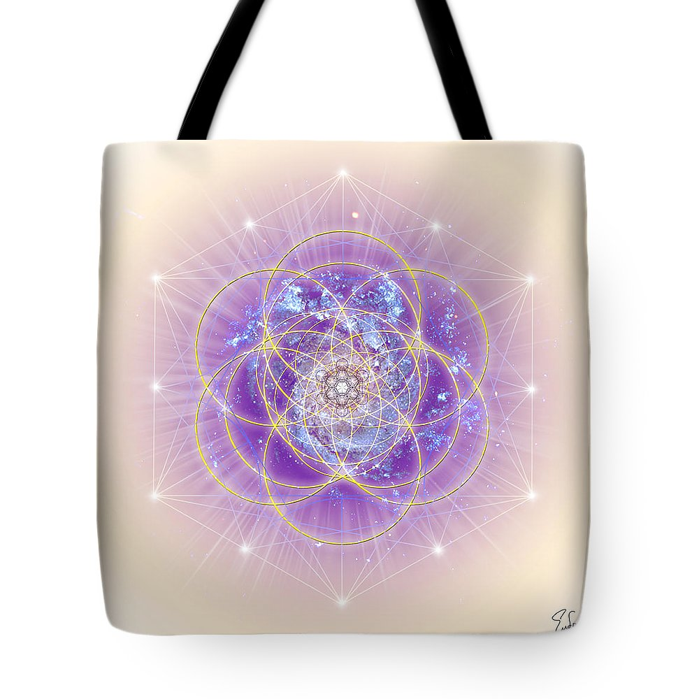 Endre Tote Bag featuring the digital art Sacred Geometry 140 by Endre Balogh