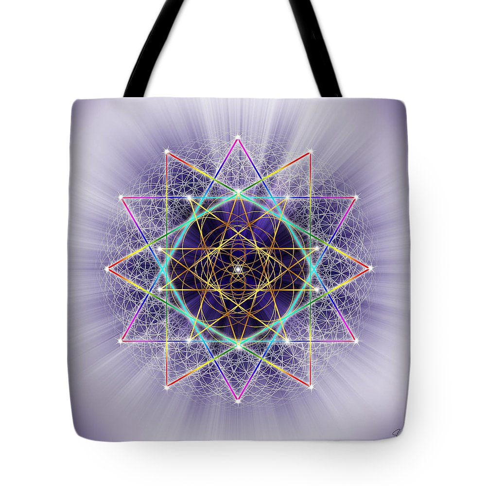 Endre Tote Bag featuring the digital art Sacred Geometry 245 by Endre Balogh