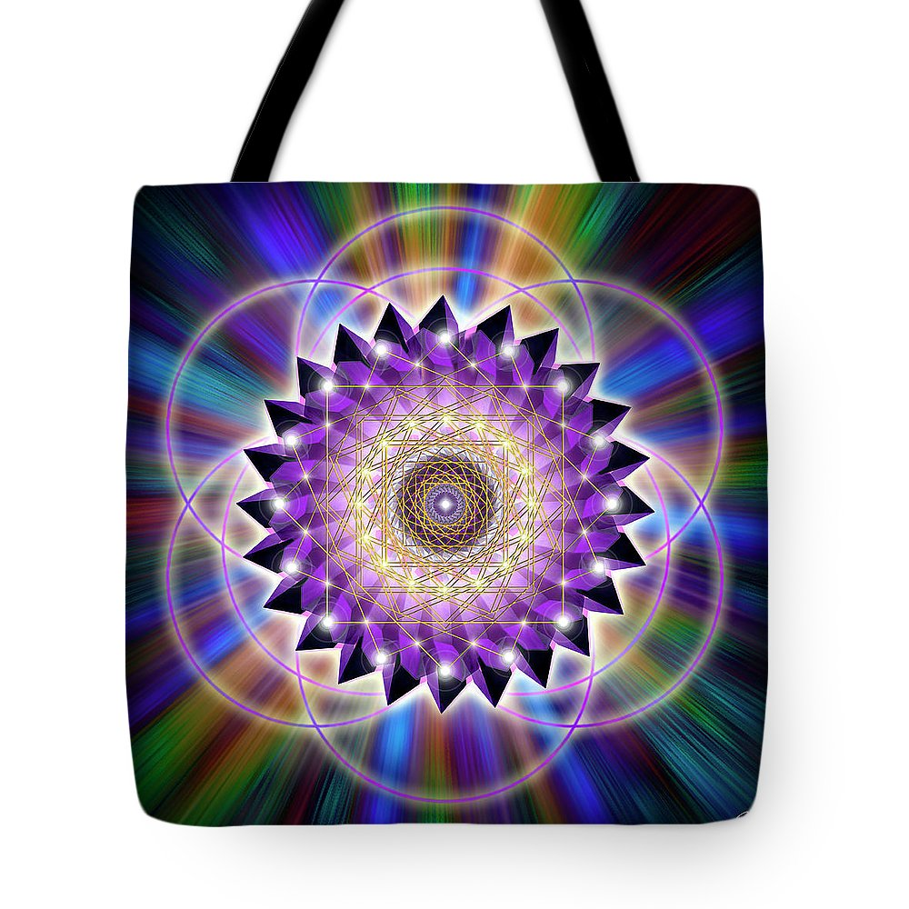 Endre Tote Bag featuring the digital art Sacred Geometry 74 by Endre Balogh