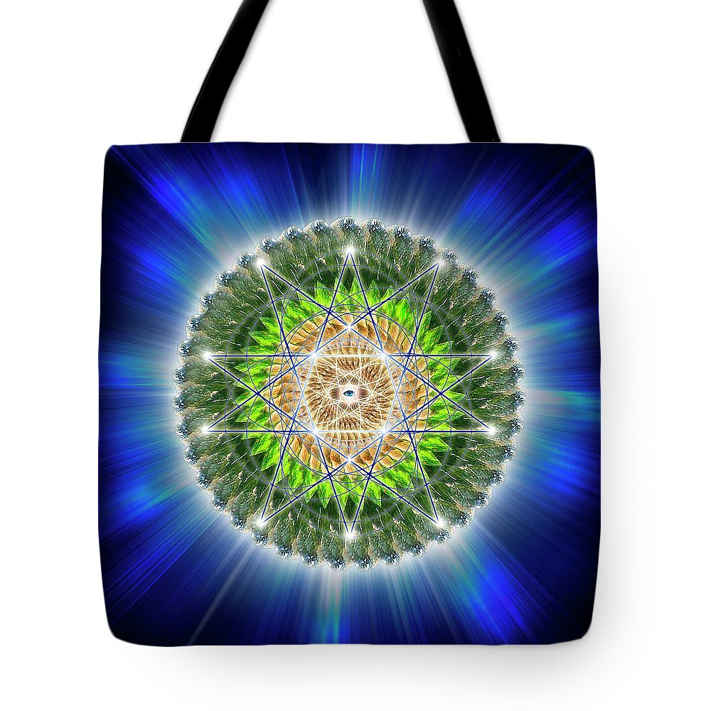 Endre Tote Bag featuring the digital art Sacred Geometry 75 by Endre Balogh