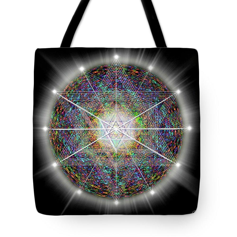 Endre Tote Bag featuring the digital art Sacred Geometry 89 by Endre Balogh