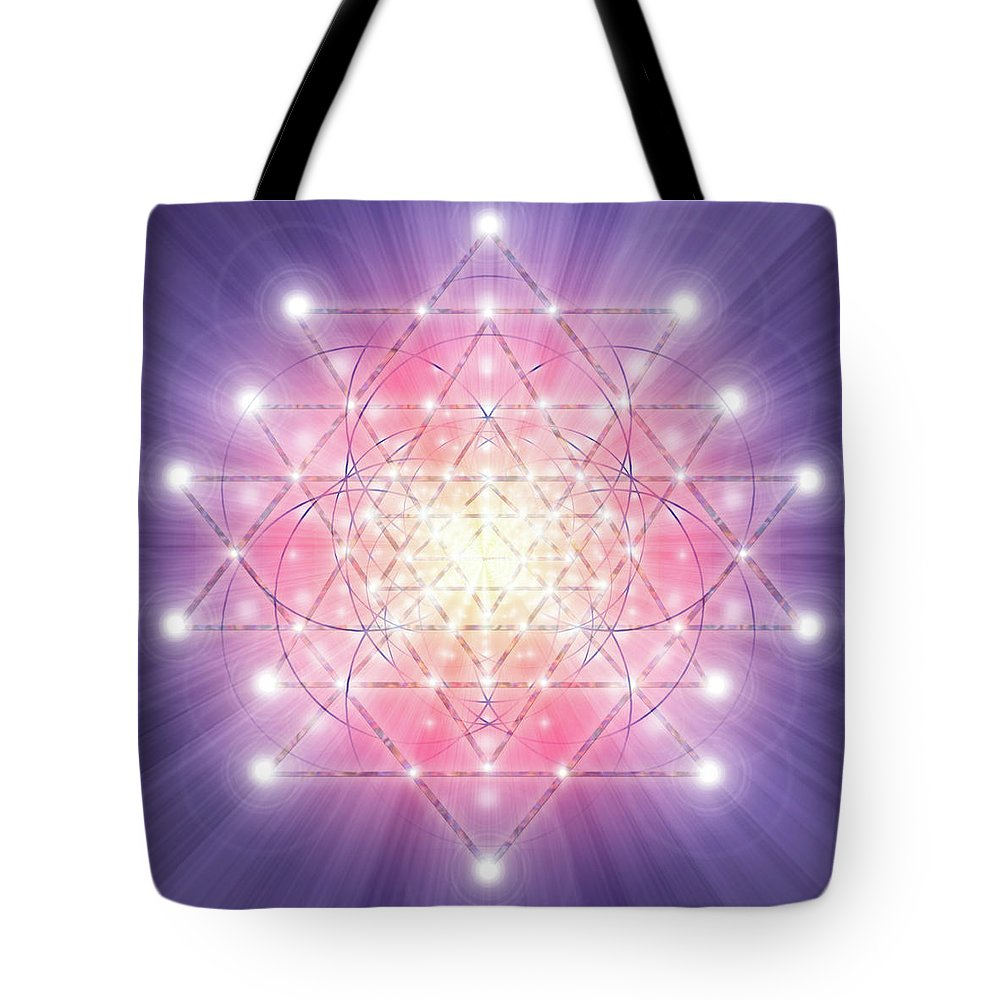 Endre Tote Bag featuring the digital art Sacred Geometry 92 by Endre Balogh
