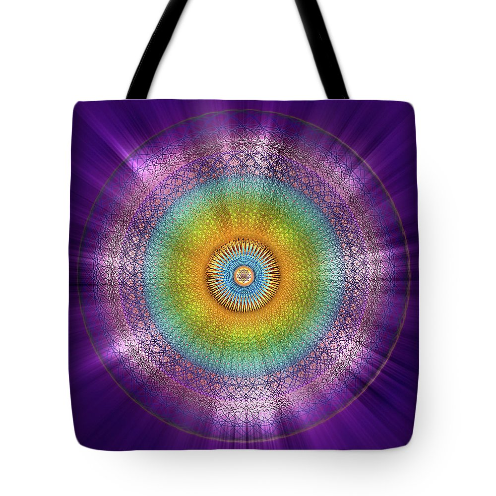Endre Tote Bag featuring the digital art Sacred Geometry 96 by Endre Balogh