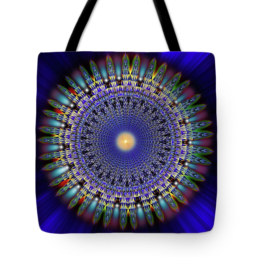 Endre Tote Bag featuring the digital art Sacred Geometry 97 by Endre Balogh