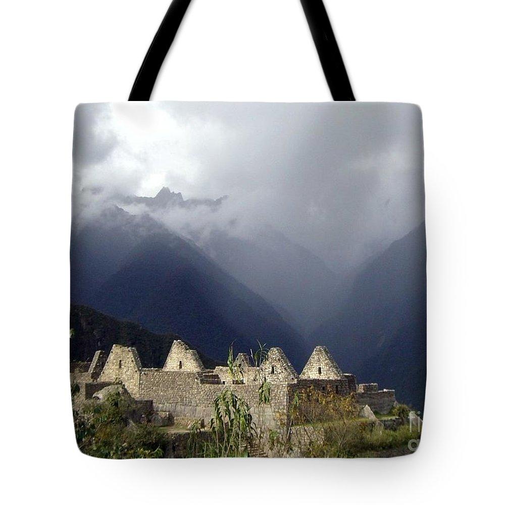 Machu Picchu Tote Bag featuring the photograph Sacred Mountain Echos by Barbie Corbett-Newmin