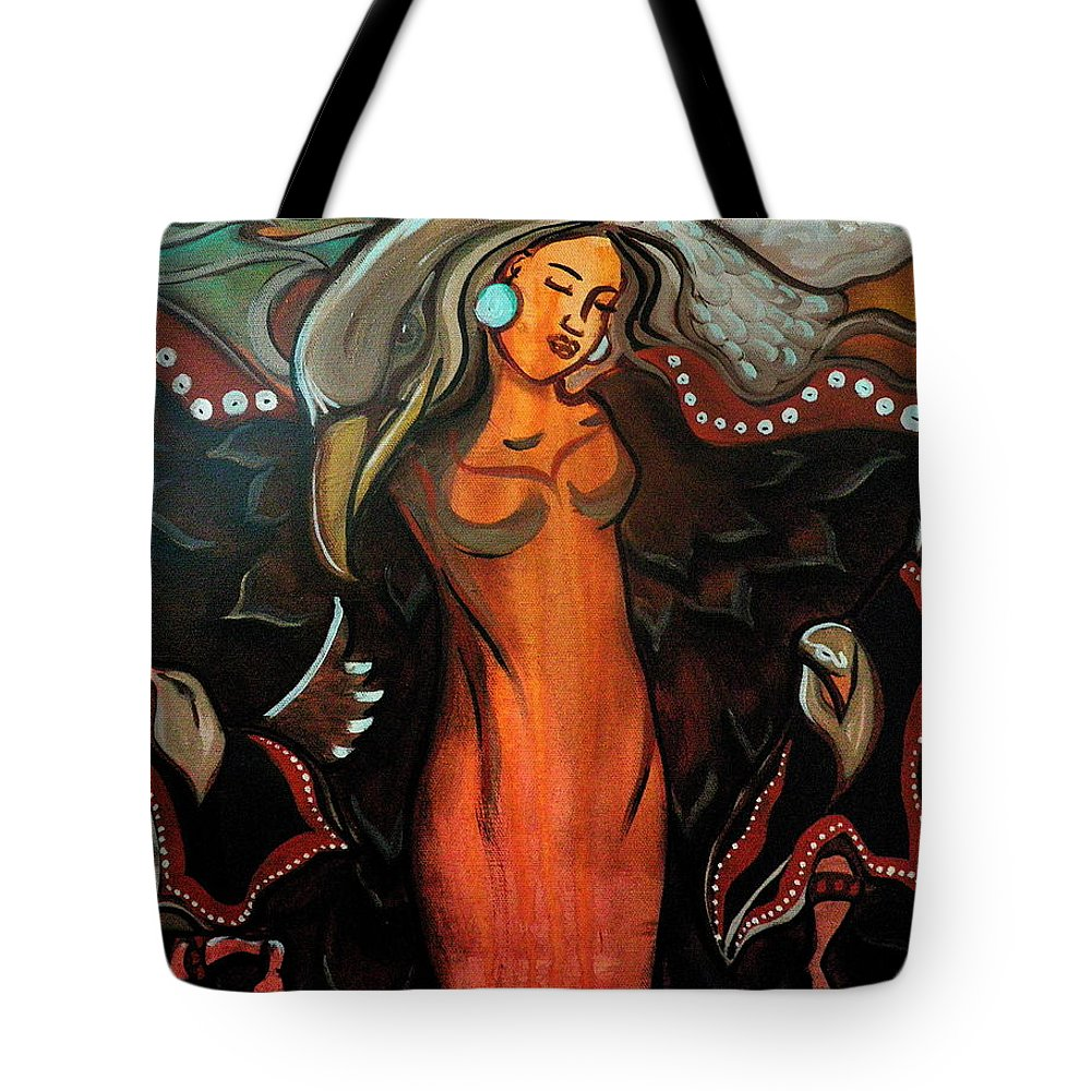 Tote Bag featuring the painting Sacred Prayer Dance by Crystal Charlotte Easton