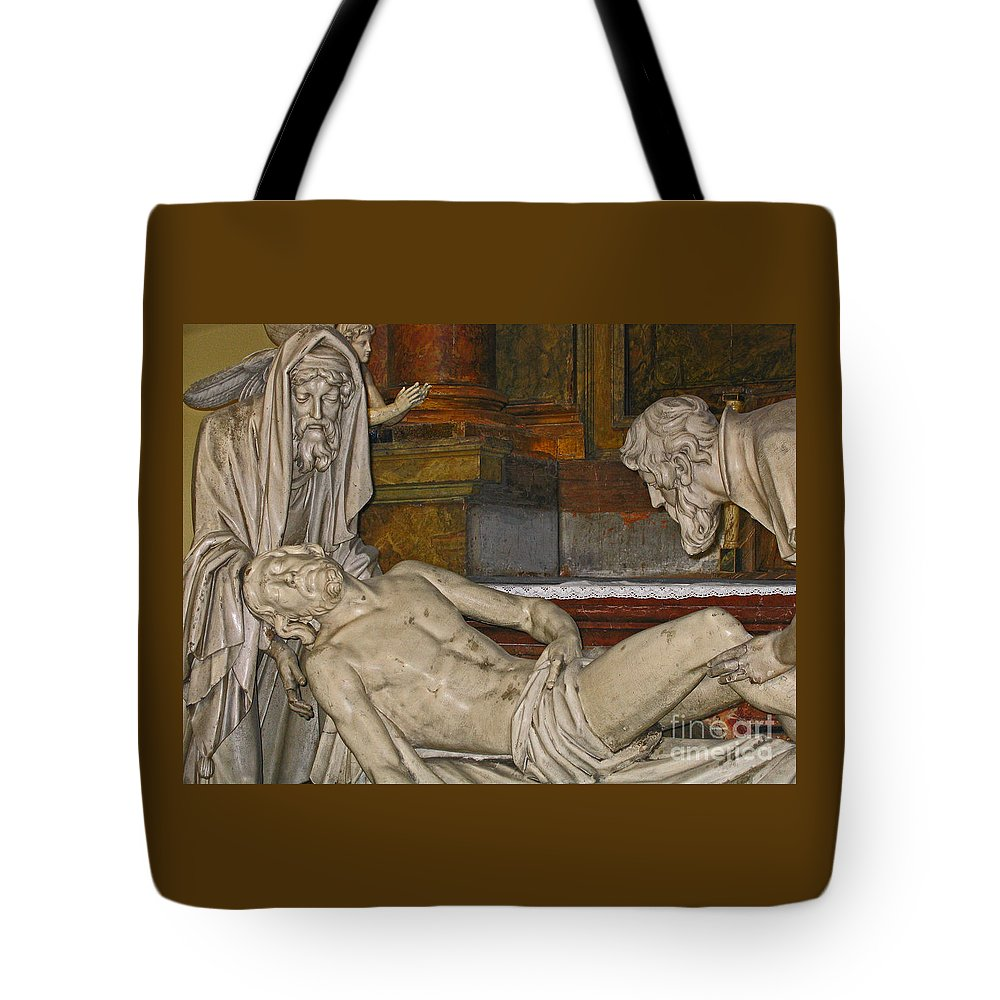 Christ Tote Bag featuring the photograph Sacred Sacrifice by Ann Horn