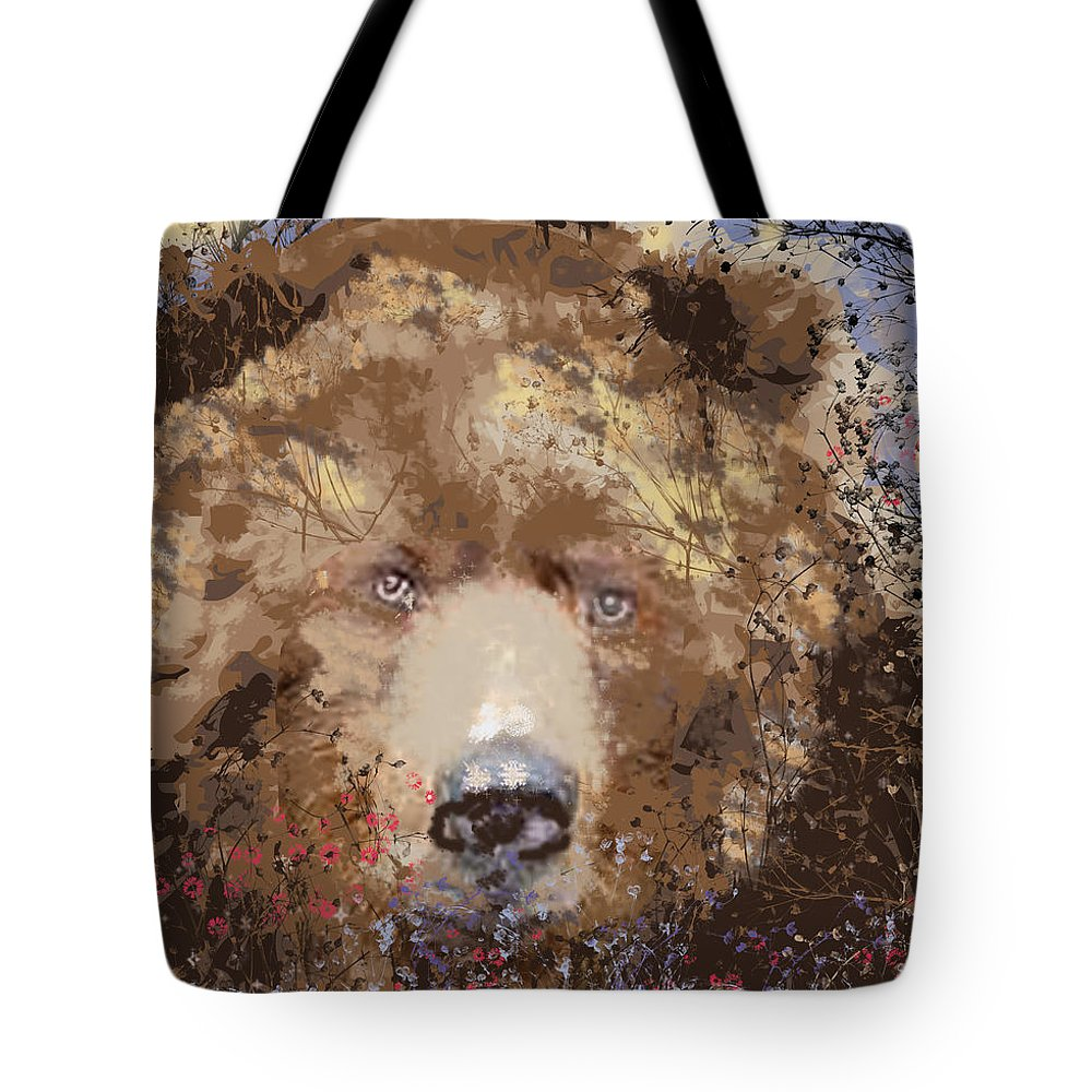 Brown Bear Tote Bag featuring the digital art Sad Brown Bear by Kim Prowse