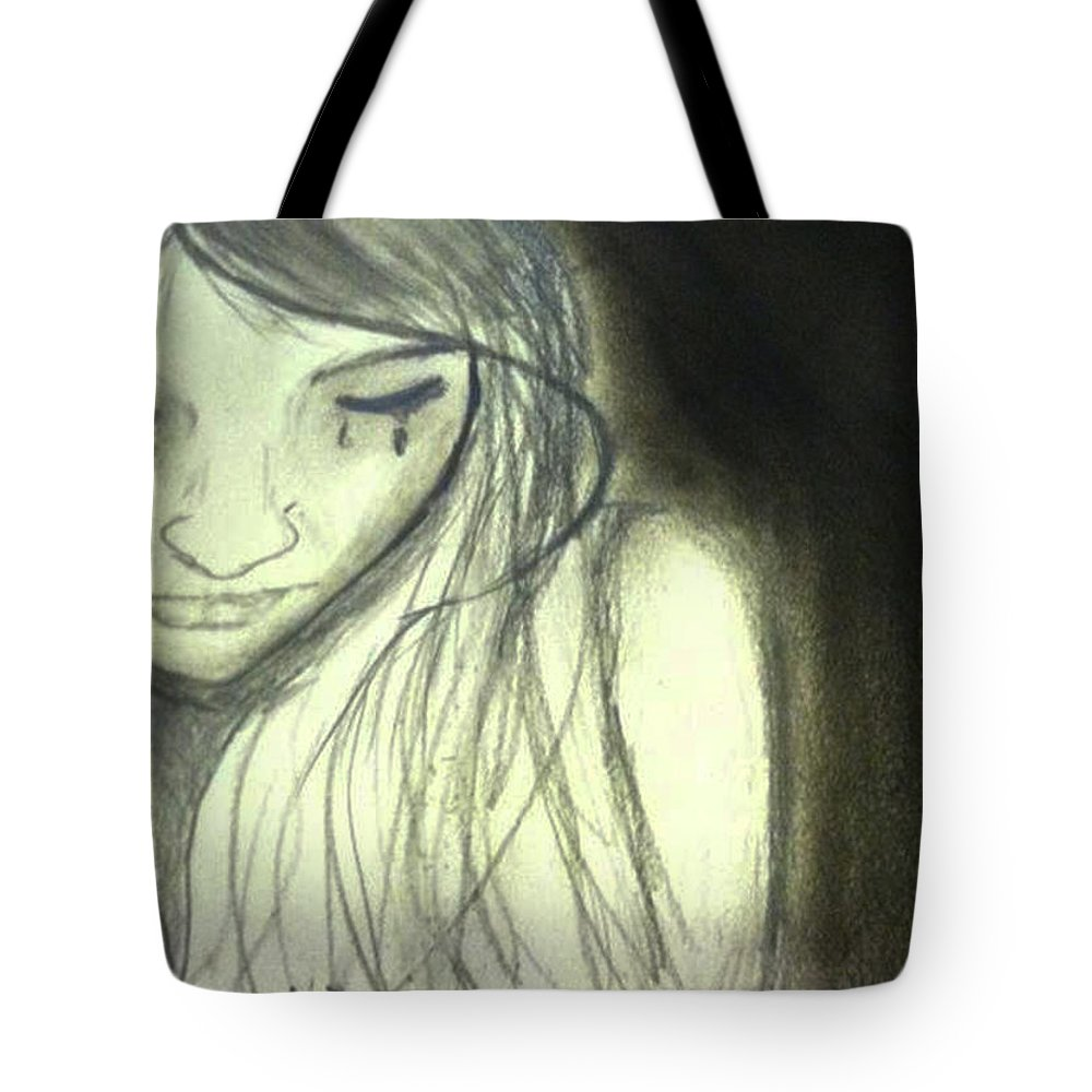 Sad girl sketch tote bag