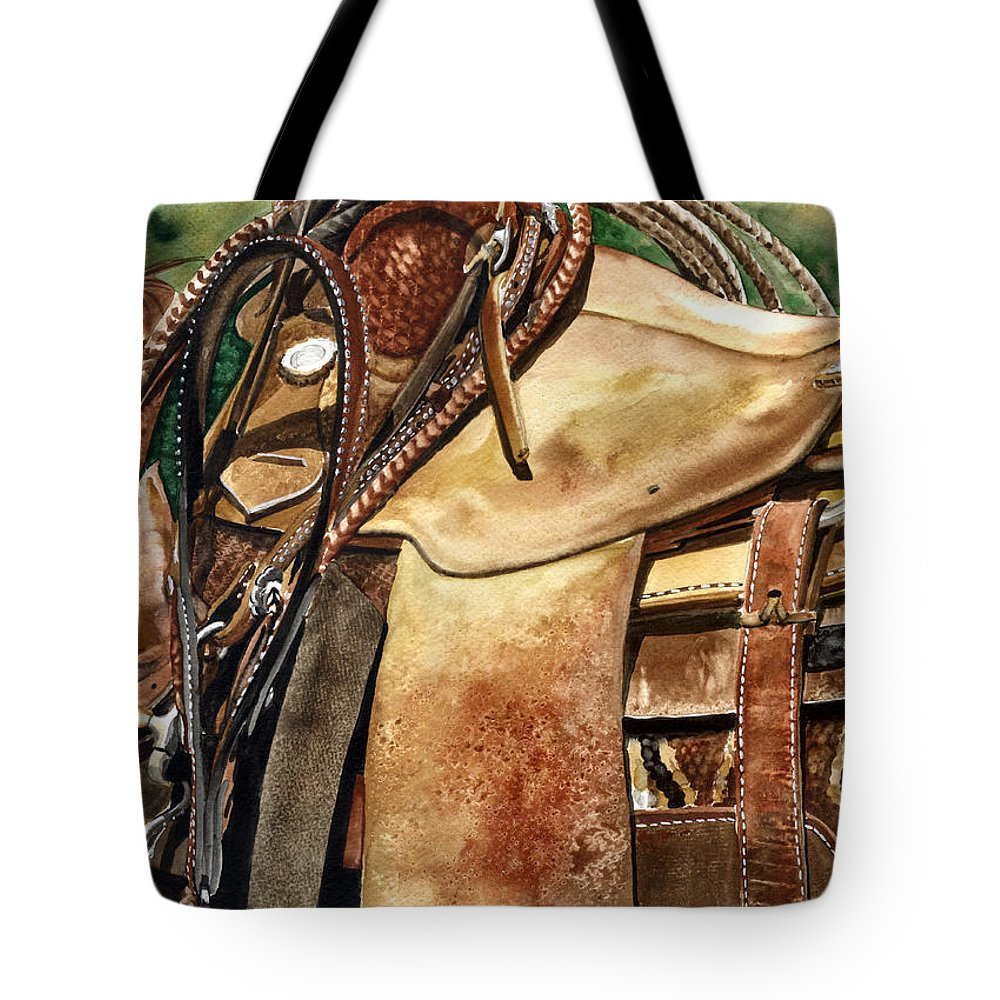 Cowboy Tote Bag featuring the painting Saddle Texture by Nadi Spencer