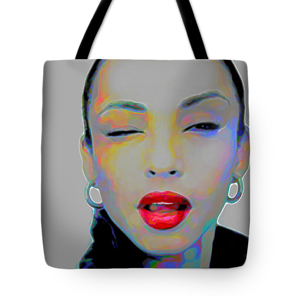 Sade Tote Bag featuring the painting Sade 3 by Fli Art