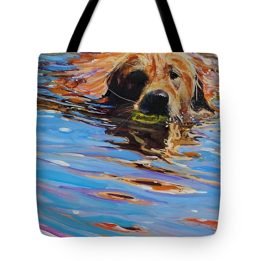 Golden Retriever Tote Bag featuring the painting Sadie Has A Ball by Molly Poole
