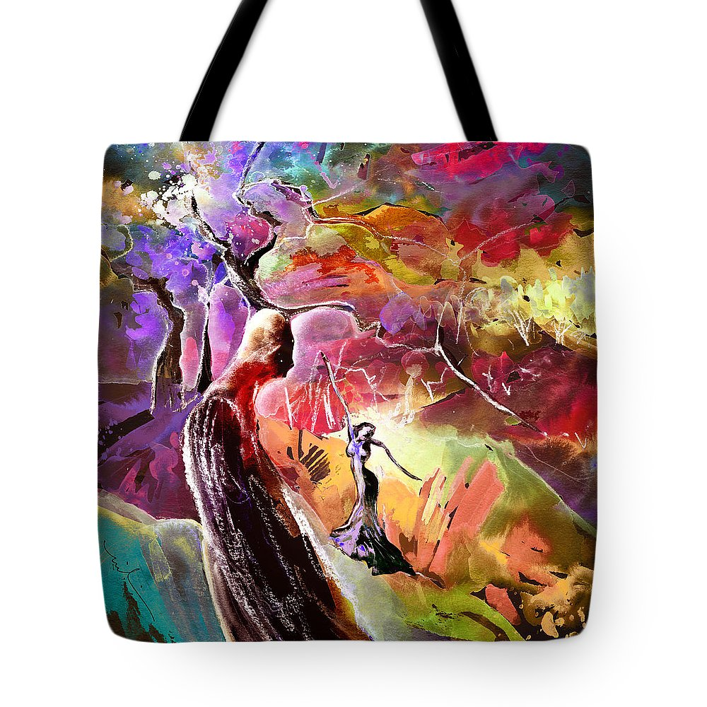 Fantasy Tote Bag featuring the painting Sadness by Miki De Goodaboom