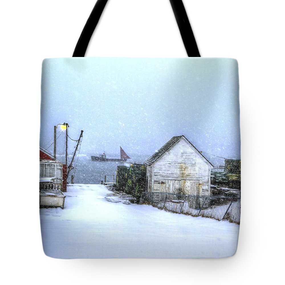 Snow Tote Bag featuring the photograph Safe Harbor Maine by Brenda Giasson