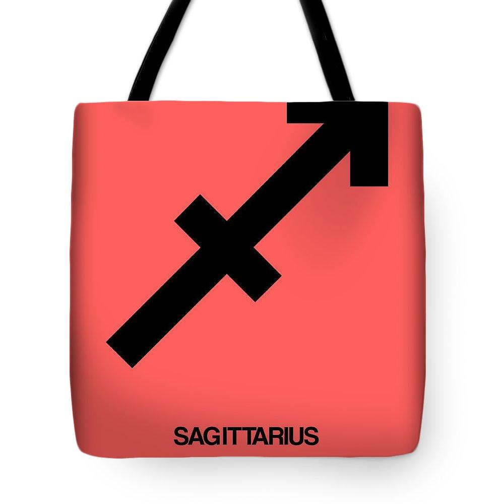 Sagittarius Tote Bag featuring the digital art Sagittarius Zodiac Sign Black by Naxart Studio
