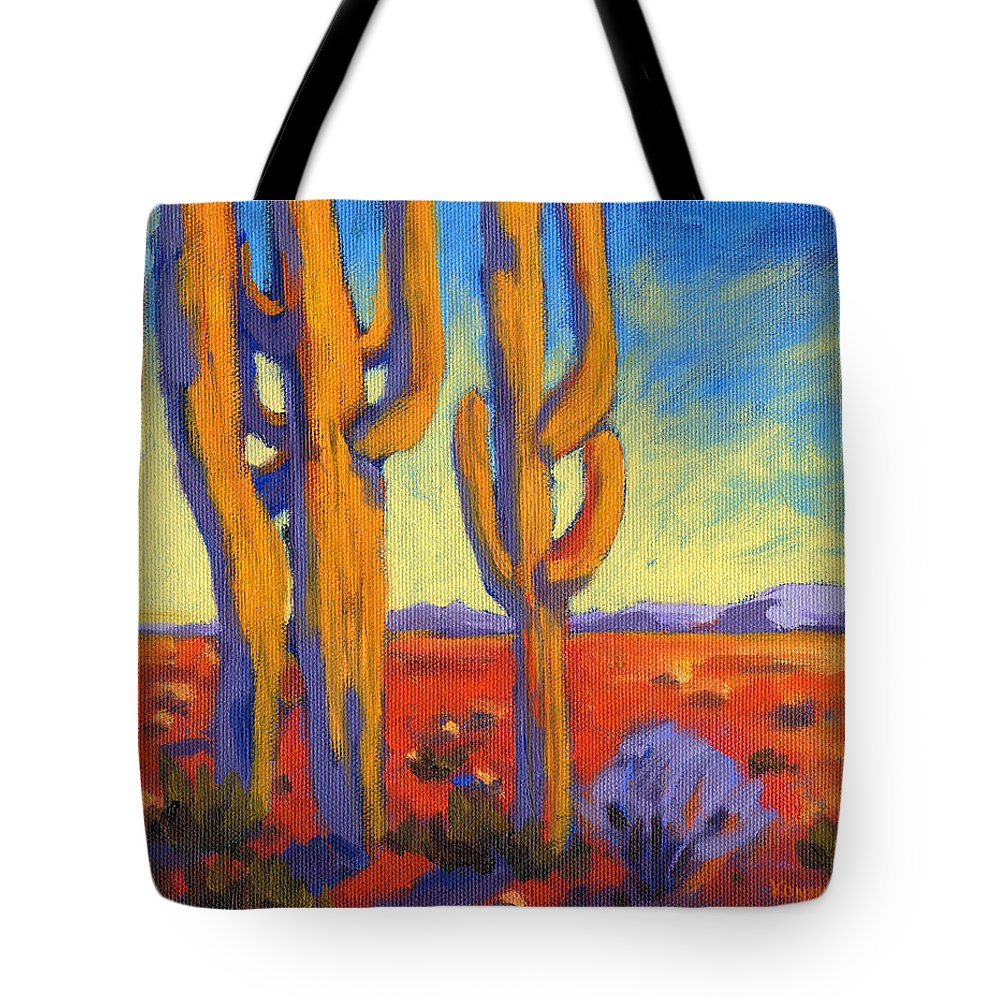 Arizona Tote Bag featuring the painting Desert Keepers by Konnie Kim