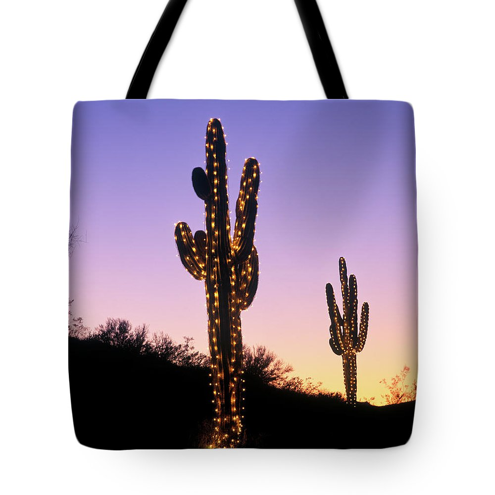 Photography Tote Bag featuring the photograph Saguaro Cacti With Christmas Lights by Vintage Images