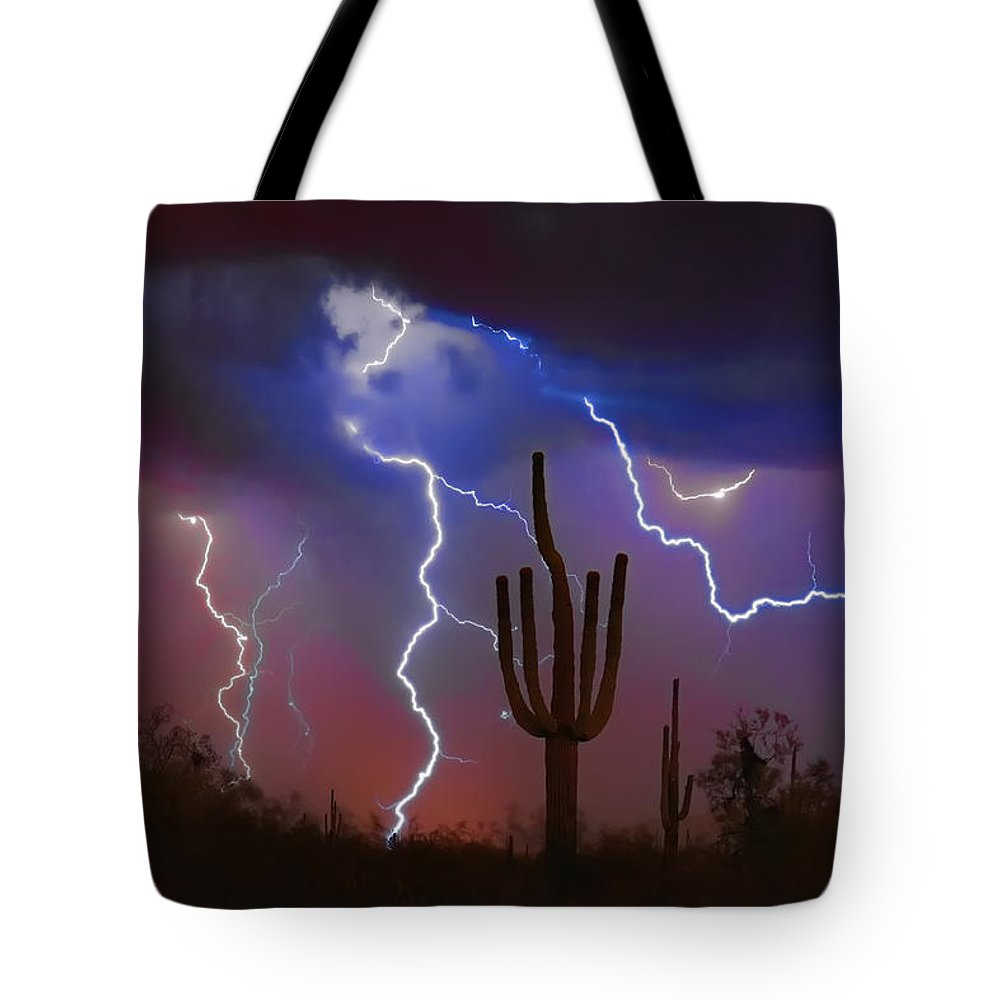 Saguaro Tote Bag featuring the photograph Saguaro Lightning Nature Fine Art Photograph by James BO Insogna