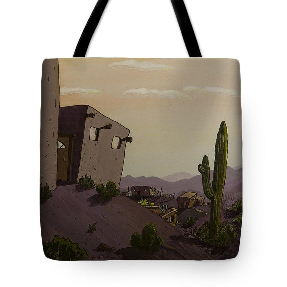 Animation Background Cartoon Landscape Desert Cactus Arizona Pueblo Tote Bag featuring the painting Saguaro Sunset by Brenda Salamone