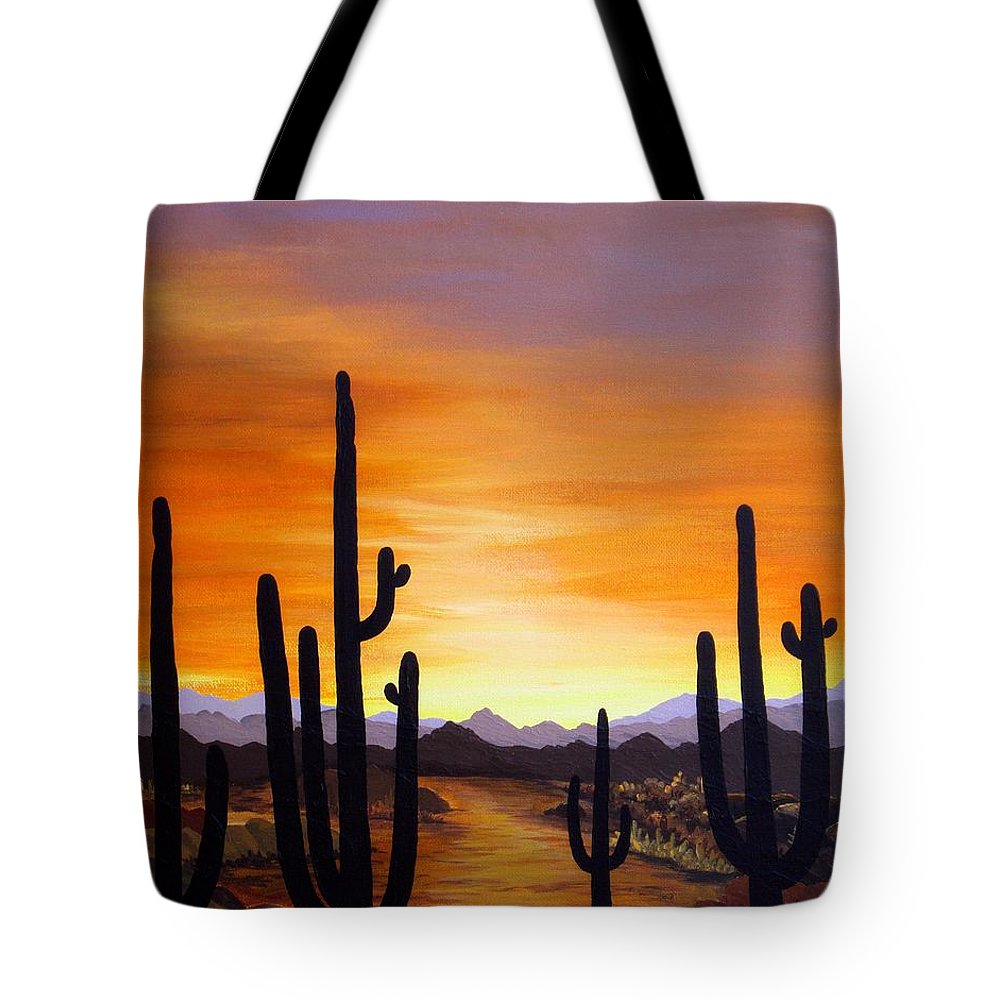 Acrylic Tote Bag featuring the painting Saguaro Sunset by Carol Sabo