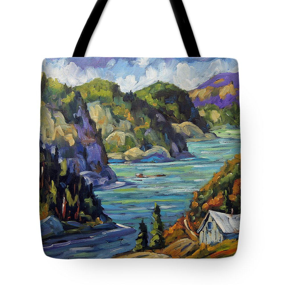 Rural City Scape Tote Bag featuring the painting Saguenay Fjord By Prankearts by Richard T Pranke