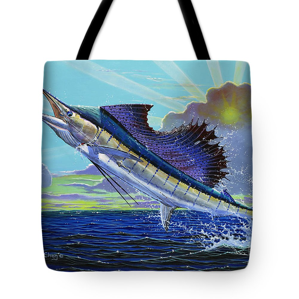 Sailfish Tote Bag featuring the painting Sail Away Off0014 by Carey Chen