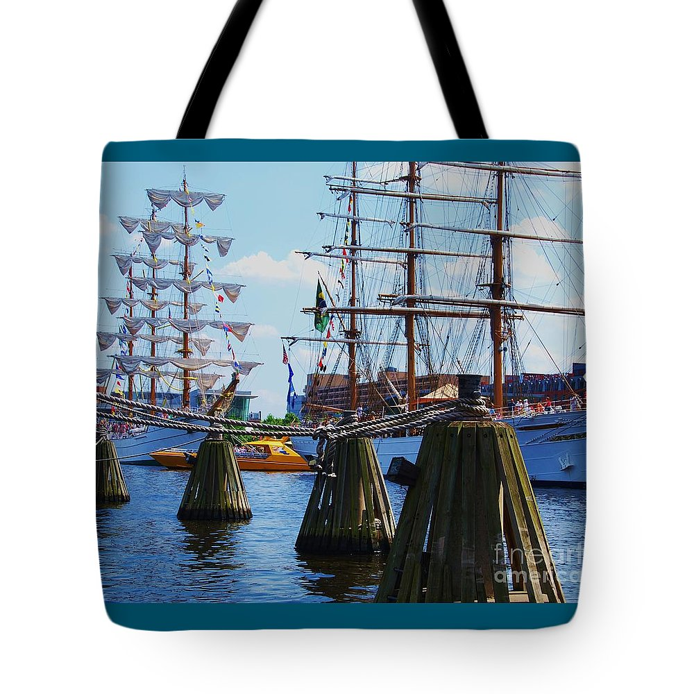 Tall Ships Baltimore Harbor Stock Shot Travel Masts Sails Sailing Boats Unique Art Nautical History Boat Art Ropes Wooden Buoys Vessels Serene Yellow Speed Boat Old And New Outdoors Canvas Print Wood Print Metal Frame Poster Print Greeting Card For Sailors Available On T Shirts Tote Bags Shower Curtains Weekender Tote Bags Pouches Mugs And Phone Cases Tote Bag featuring the photograph Sailabration Baltimore by Marcus Dagan