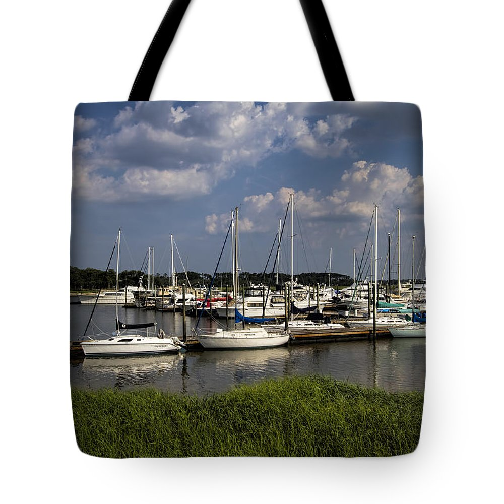 St Simon's Tote Bag featuring the photograph Sailboat Harbor At St. Simon's Island by Kathy Clark