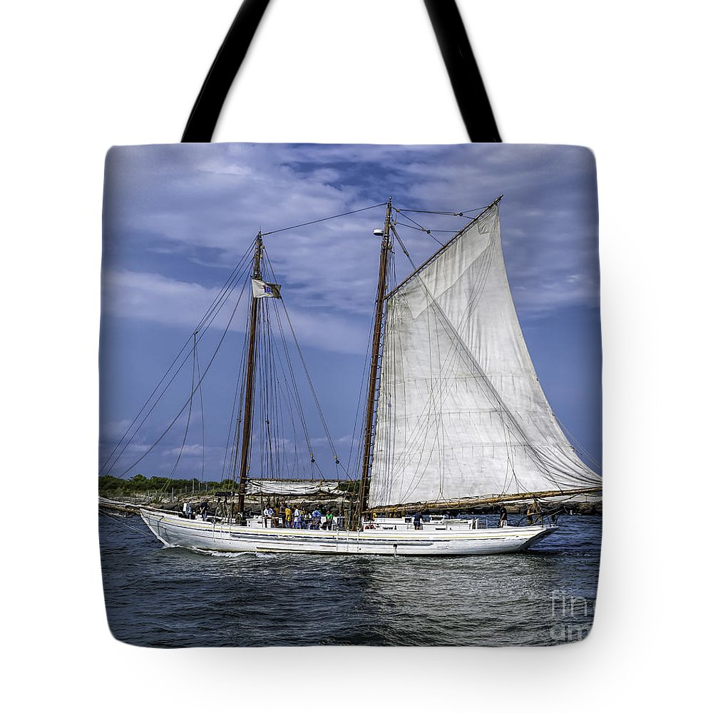 Sail Tote Bag featuring the photograph Sailboat In Cape May Channel by Nick Zelinsky