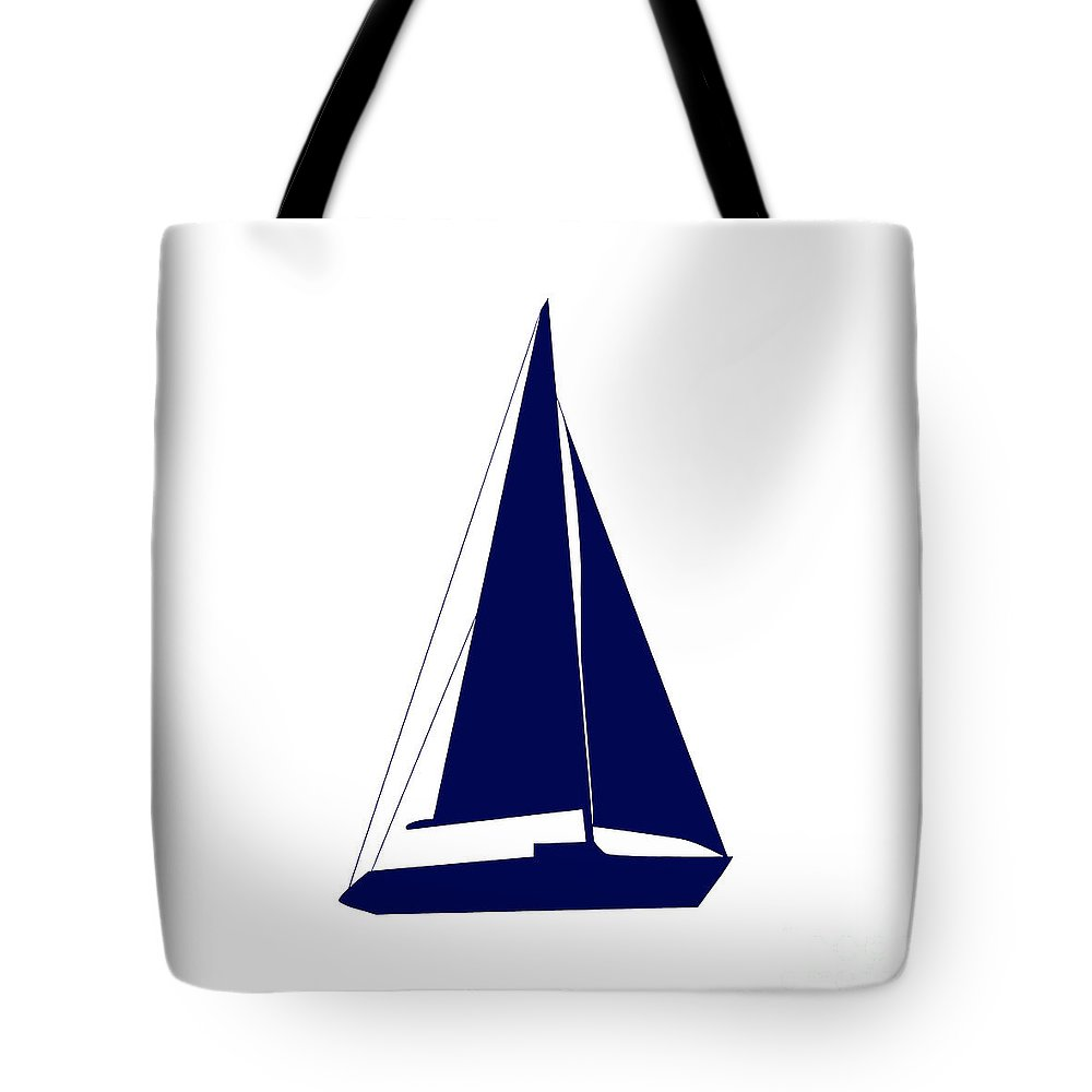 Graphic Art Tote Bag featuring the photograph Sailboat In Navy And White by Jackie Farnsworth