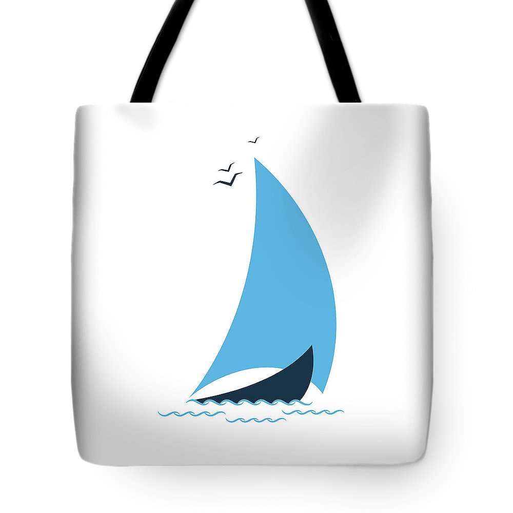 Curve Tote Bag featuring the digital art Sailboat In The Sea. Concept For The by Liubov Trapeznykova