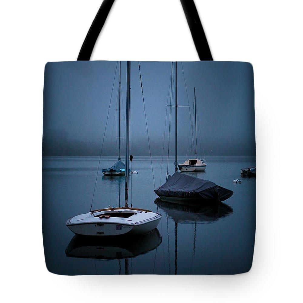 Lake Harriet Tote Bag featuring the photograph Sailboats At Dawn by Joe Mamer