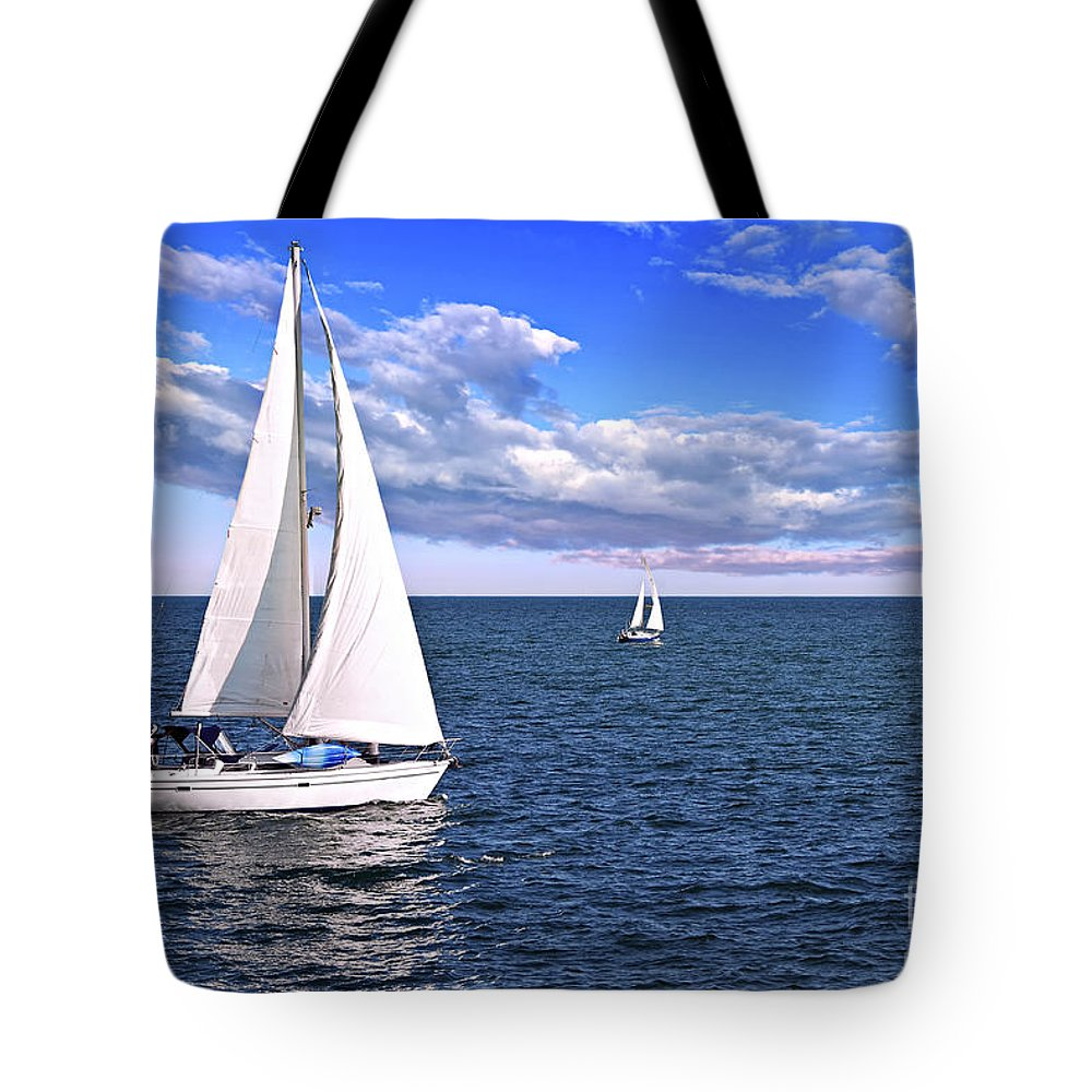 Boat Tote Bag featuring the photograph Sailboats At Sea by Elena Elisseeva
