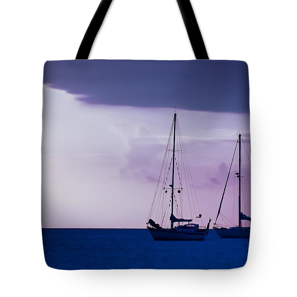 Sailboats Tote Bag featuring the photograph Sailboats At Sunset by Don Schwartz