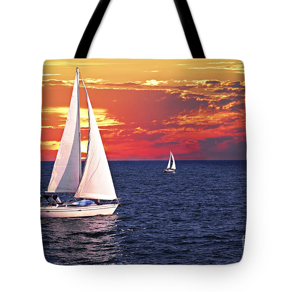 Boat Tote Bag featuring the photograph Sailboats At Sunset by Elena Elisseeva