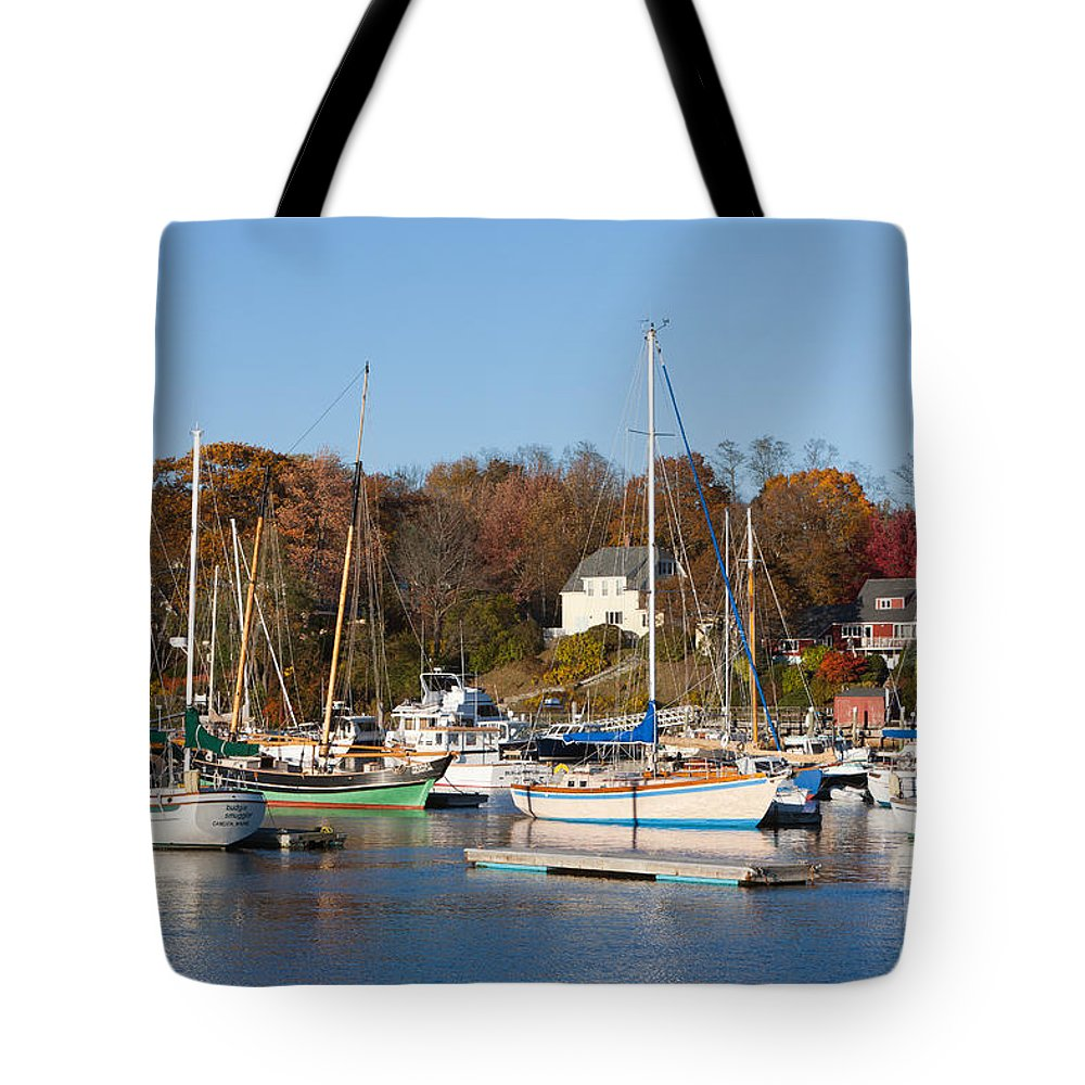 Clarence Holmes Tote Bag featuring the photograph Sailboats In Camden Harbor I by Clarence Holmes