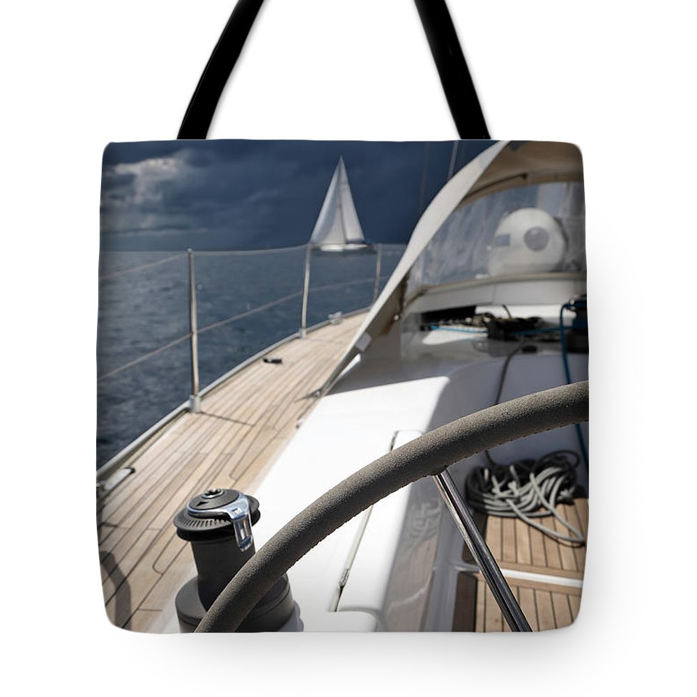 Adriatic Sea Tote Bag featuring the photograph Sailboats In Mediterranean Sea by Vuk8691