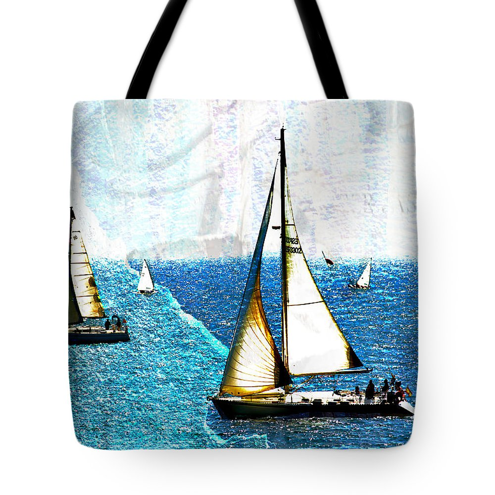 Water Tote Bag featuring the photograph Sailboats In The Harbor by Hal Halli