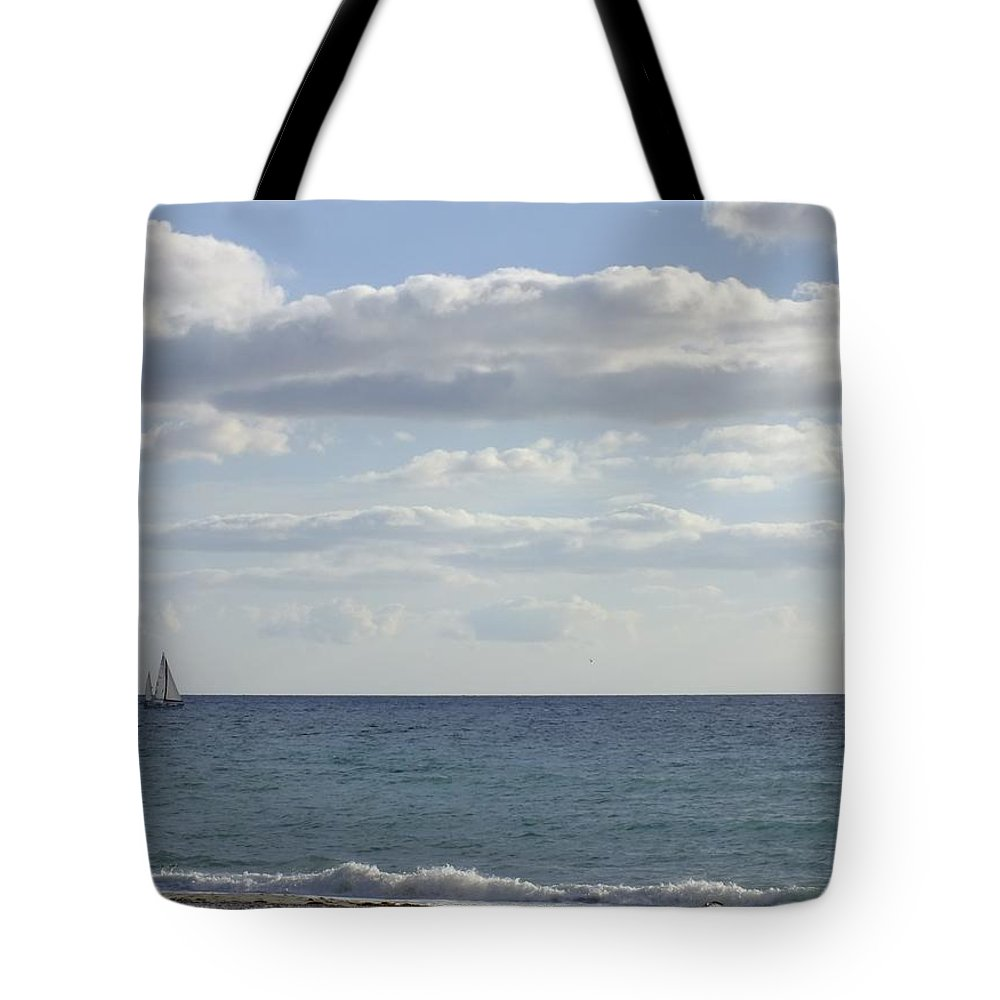 Seascape Tote Bag featuring the photograph Sailin' The Blues by Peggy King