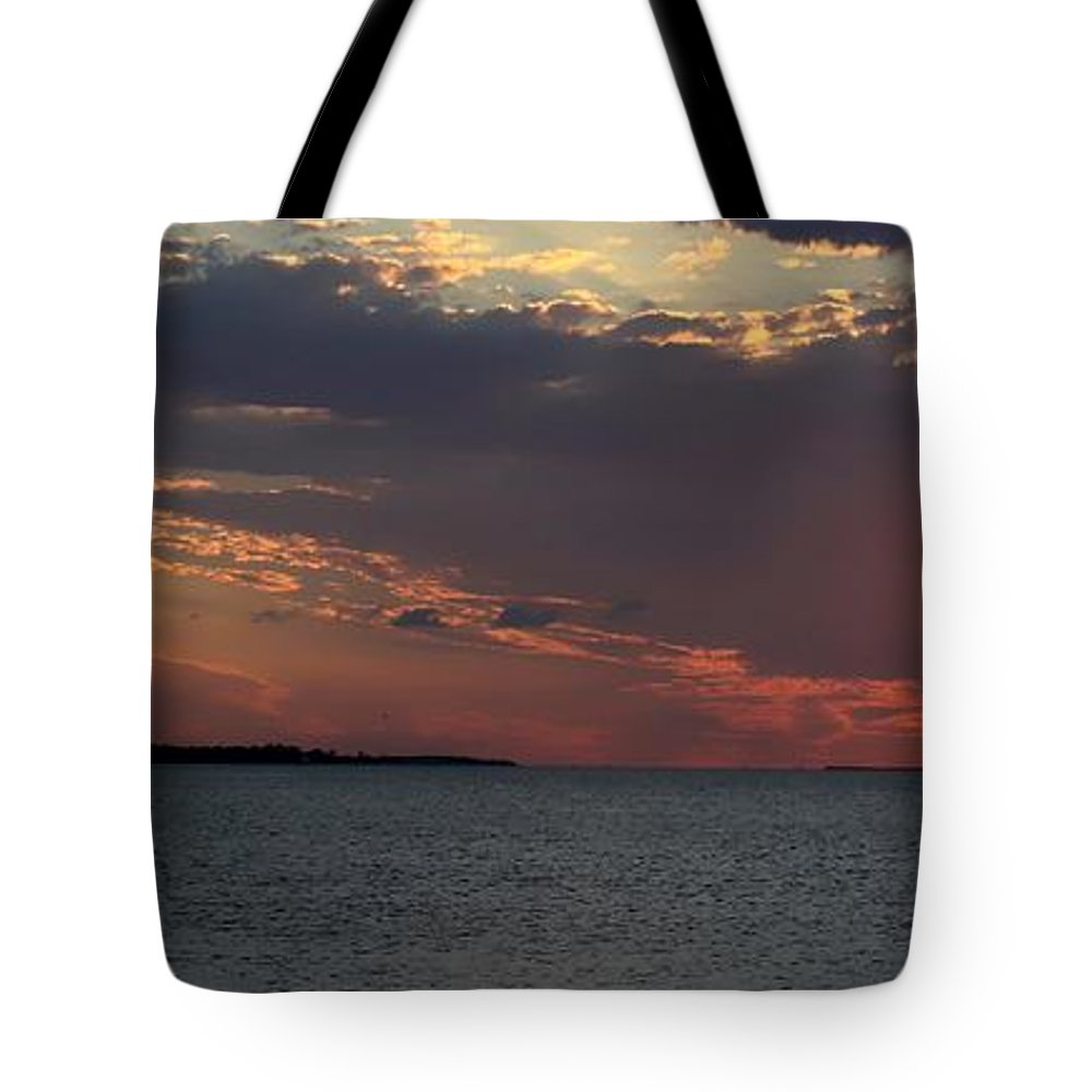 Sunset Tote Bag featuring the photograph Sailing At Sunset by Debra Forand